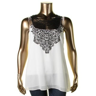 City Chic Womens Plus Casual Top Chiffon Crochet Front