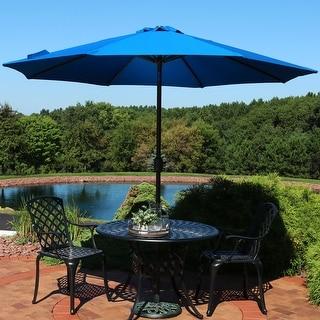 Sunnydaze 9-Foot Aluminum Sunbrella Patio Umbrella - Auto Tilt - Pacific Blue - 9 ft