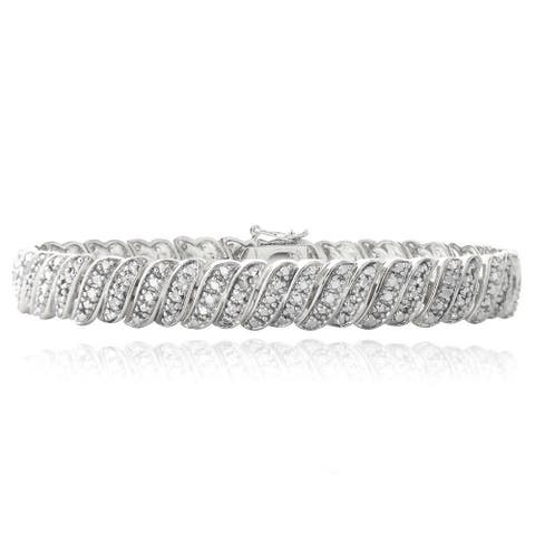 DB Designs 1ct TDW Diamond Wave Link Tennis Bracelet