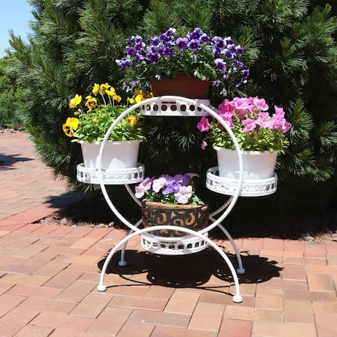 Sunnydaze 4-Tier Ferris Wheel Indoor Outdoor Plant and Flower Stand - 28-Inch - White