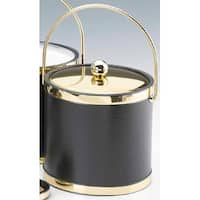 Kraftware 50068 Sophisticates Black with Polished Brass 3 Quart Ice Bucket with Metal Cover  Bands and Bale Handle