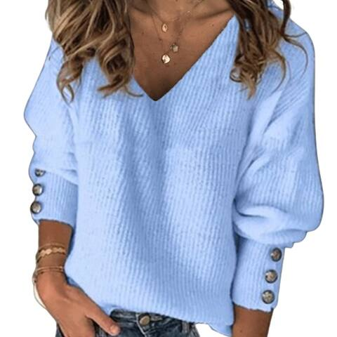 Women Autumn Winter Knit Pullover Buttons Cuff Long Sleeve V Neck Ribbed Sweater