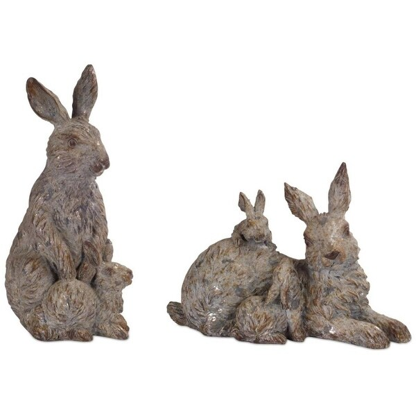 """Pack of 4 Assorted Brown and Gray Garden Rabbit Family Table Top Figures 12"""""""