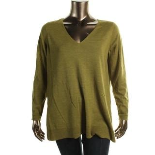 Eileen Fisher Womens Plus Merino Wool Deep V-Neck Pullover Sweater - 1X
