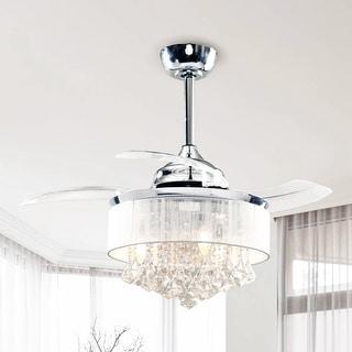 Link to Chrome 36-inch Crystal 3-Blade Ceiling Fan - 36-in Similar Items in Industrial Rugs