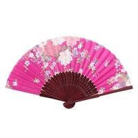 Ladies Women Hollow Out Bamboo Frame Dance Summer Handheld Hand Fan Fushcia