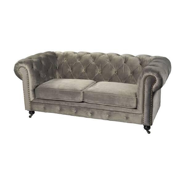 Gray Velvet Two Seater Fabric Sofa