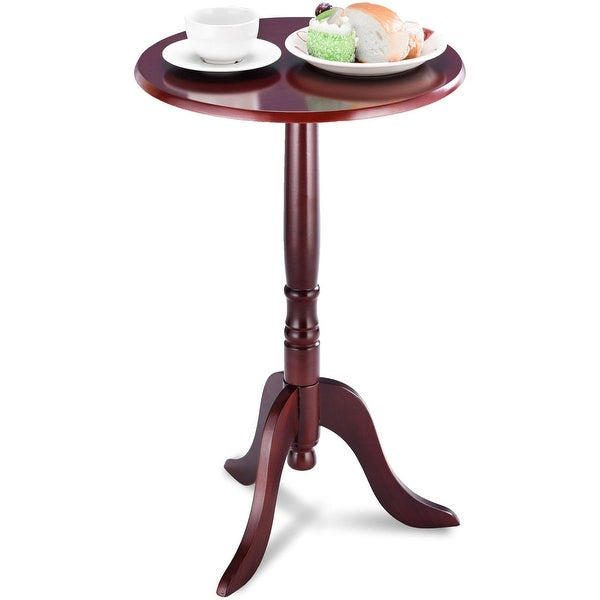 Gymax Classic Round Accent Table End Table Tea Side Table Home Mahogany - Cherry