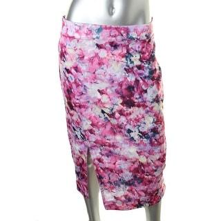 Kiind Of Womens Floral Print Mid-Calf Pencil Skirt - L