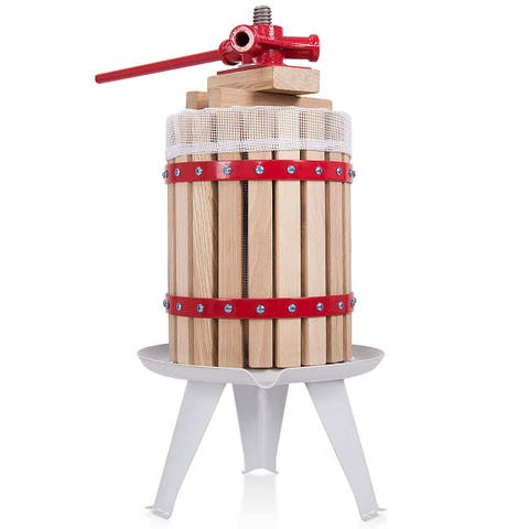 Costway 1.6 Gallon Fruit Wine Press Cider Apple Grape Crusher Juice Maker Tool Wood - as pic