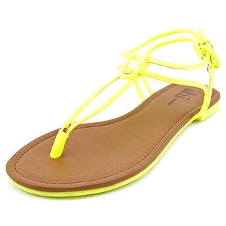 Famous Name Brand Lucie Women Open Toe Synthetic Yellow Thong Sandal