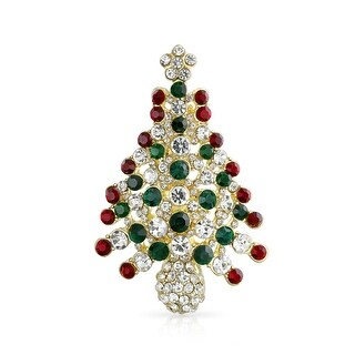 Bling Jewelry Sparkling Christmas Tree Brooch Gold Plated Alloy