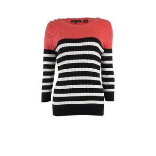 Jeanne Pierre Women's Round Neck Striped Knit Sweater