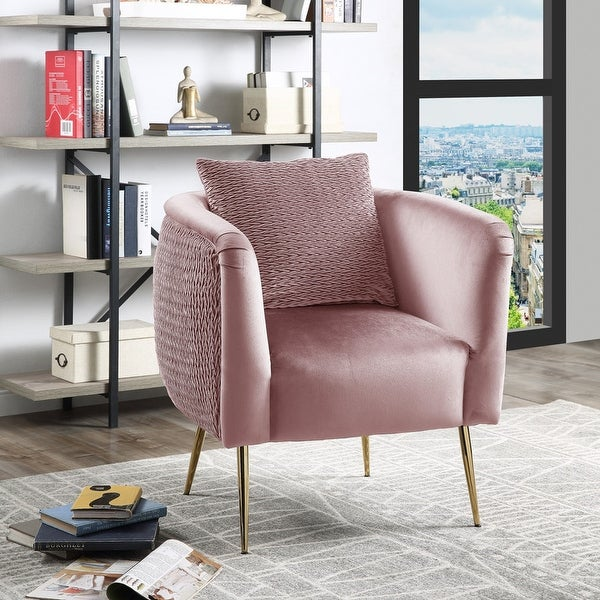 Natalie Velvet Barrel Accent Chair with Metal Legs. Opens flyout.