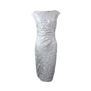 Lauren Ralph Lauren Women's Ruched Jacquard Sheath Dress - sheer pink - 12