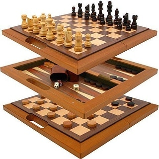 Trademark Games 3 in 1 Deluxe Wooden CHECKERS + BACKGAMMON + CHESS SET, Brown