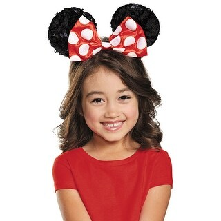 Girls Red Minnie Mouse Sequin Ears - standard - one size