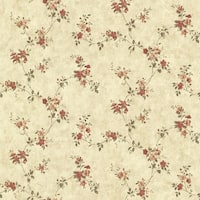 Brewster CTR64192 Rose Valley Red Floral Trail Wallpaper - Red Floral