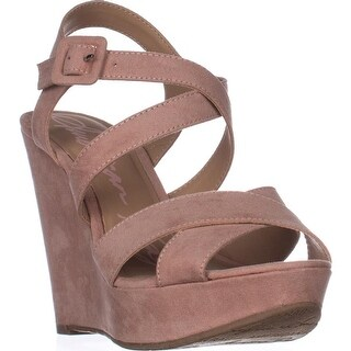 AR35 Rachey Wedge Platform Strappy Peep-Toe Sandals, Blush