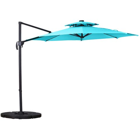 Ainfox 10ft Offset Hanging Patio Market Cantilever Solar Umbrella