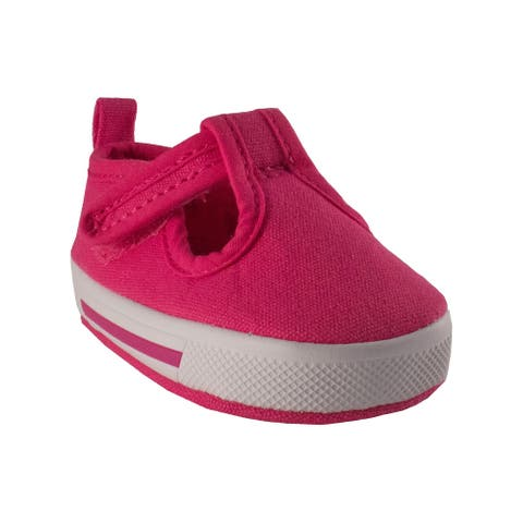 Baby Deer Unisex Pink Canvas T-Strap Casual Soft Sole Sneakers