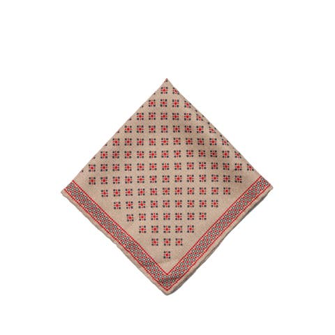 Brunello Cucinelli Mens Brown Geometric Dotted Pocket Square One Size~Retail$225 - One Size