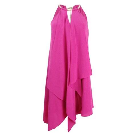 kensie Women's Draped Snake-Chain Keyhole Dress - Rose