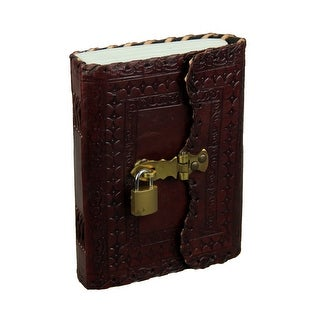 Ornate Embossed Leather Bound Blank Journal With Brass Hasp and Padlock