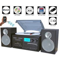 Boytone BT-28SBS, Bluetooth Classic Style Record Player Turntable with AM/FM Radio, Cassette Player, CD Player, 2 Separate Stere