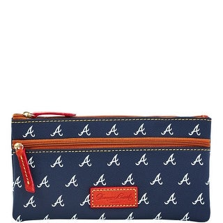 Dooney & Bourke MLB Braves Double Zip Flat Pouch (Introduced by Dooney & Bourke at $85 in Oct 2015) - Navy