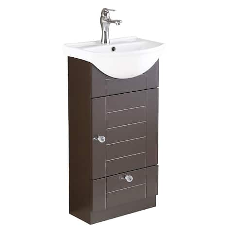 Small Bathroom White & Brown Vanity Cabinet with Faucet and Drain