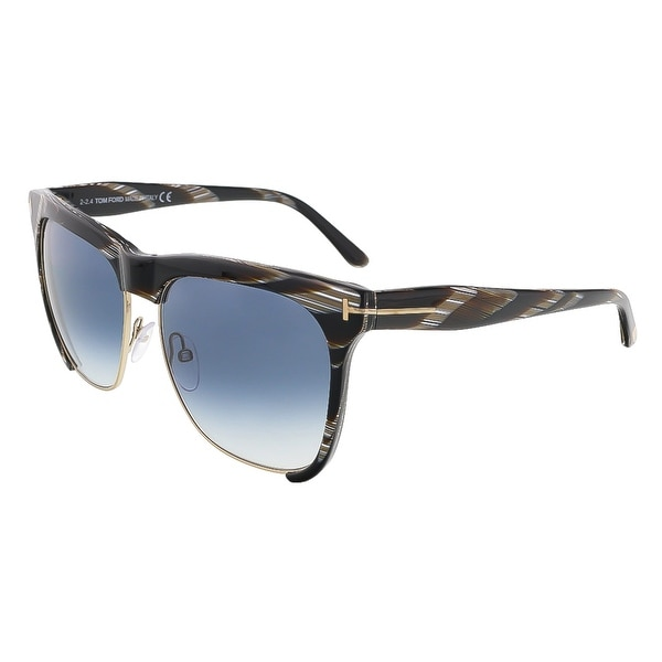 Tom Ford FT0366/S 60B Thea Brown Horn Clubmaster Sunglasses - 57-16-140