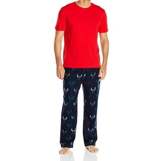 Nautica NEW Red Blue Mens Size XL Deer Print Flannel Pajama Set