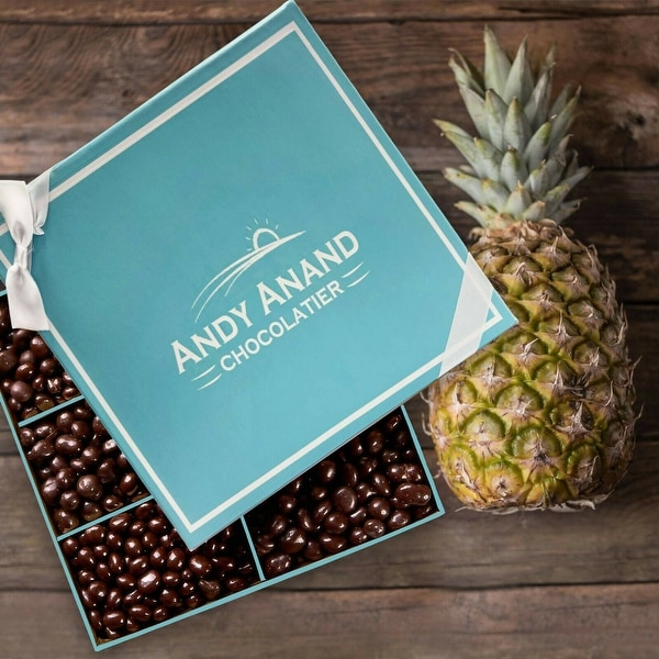 Andy Anand Chocolates- Freshly Farmed Pineapples Covered In Brazilian Rich Dark Chocolate, Greeting Card Comes in Gift Basket. Opens flyout.