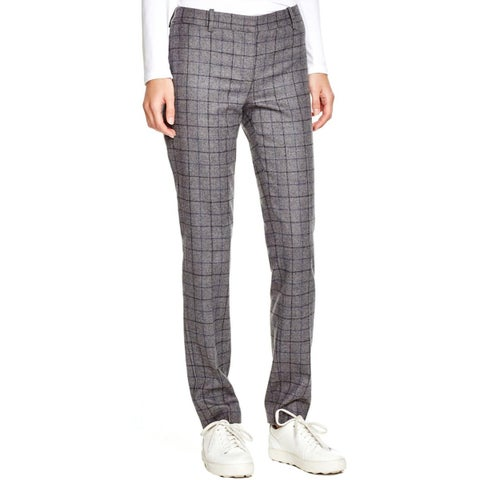 Theory Womens Dress Pants Wood Plaid