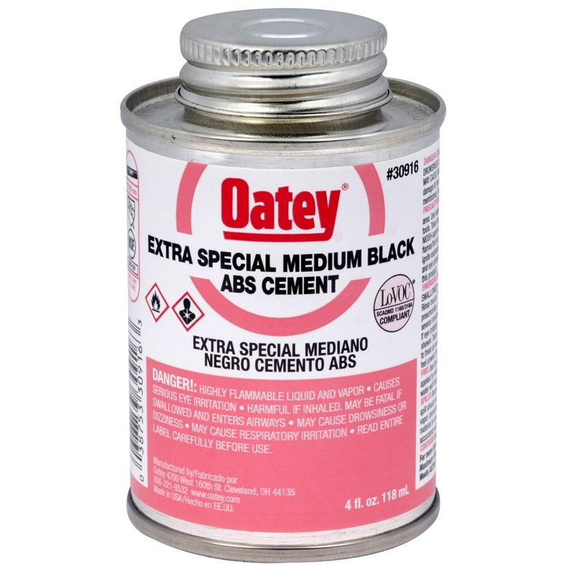 Oatey 30916 Extra Special Medium Bodied ABS Cement, 4 Oz, Black