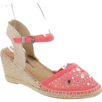 Nature Breeze Nomad-01 Women Lace Jewel Round Toe Espadrille Wedge Sandal - Coral