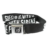 Sleeping with Sirens Seatbelt Belt - Text w/ Side Anchor Black & White