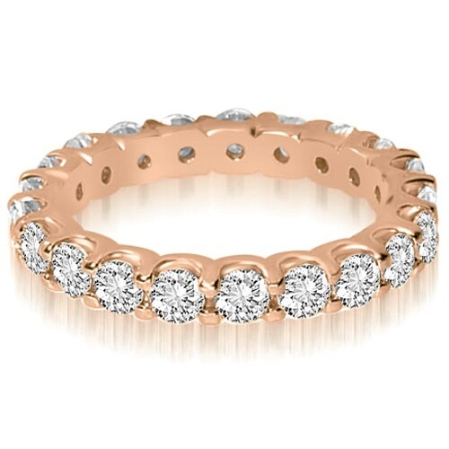 14K Rose Gold 1.40 ct.tw Round Cut Shared Prong Diamond Eternity Wedding Ring HI, SI1-2