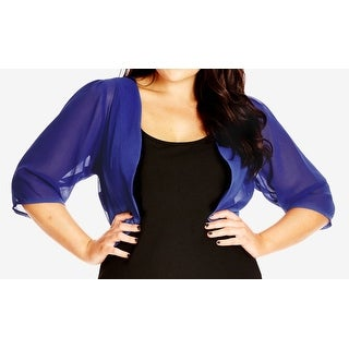 City Chic NEW Blue Women's Size 20W Plus Bolero Shrug Sheer Jacket