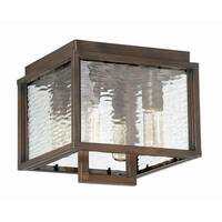 """Craftmade Z9827 Cubic 4 Light 10-3/8"""" Wide Outdoor Flush Mount Ceiling Fixture with Clear Water Glass Shade"""