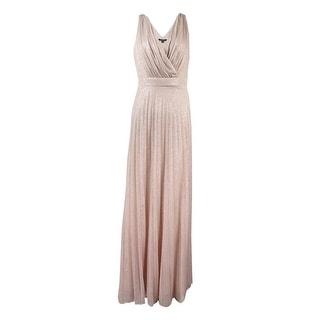 Onyx Nite Women's Deep V-Neck Glittered Chiffon Dress