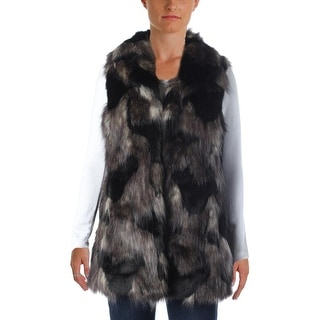 Aqua Womens Faux Fur Hook Front Outerwear Vest - S