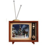 Pack of 2 Icy Crystal Illuminated Musical Christmas TV Box Figurines 9""