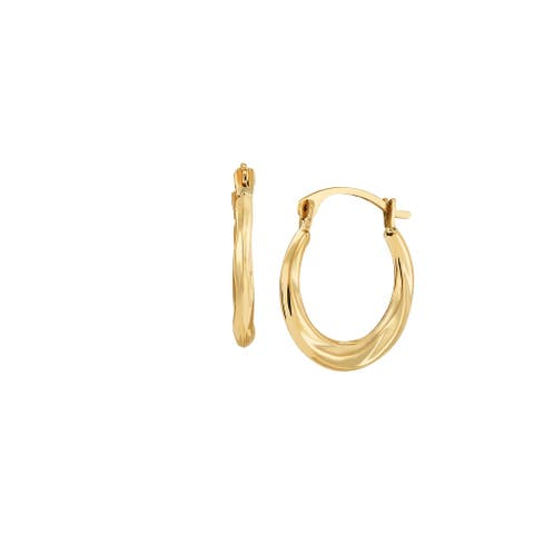 10K Gold Small Lined Hoop Earrings - Yellow