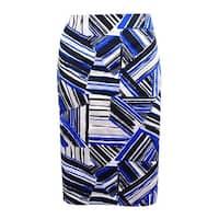 Kasper Women's Plus Size Abstract-Print Pencil Skirt (22W, Cobalt Multi) - cobalt multi - 22W