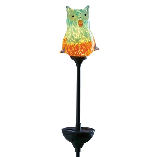 Light Up Solar Art Glass Owl - Garden Decoration On Post