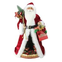 "20"" Battery Operated Musical Standing Santa Claus Figure with LED Lighted Christmas Scene - RED"