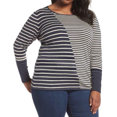 NIC+ZOE Blue Gray Womens Size 1X Plus Serene Striped Knit Top