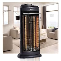Costway Infrared Electric Quartz Heater Living Room Space Heating Radiant Fire Tower - Black